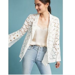 Anthropologie Flounced Eyelet Blazer
